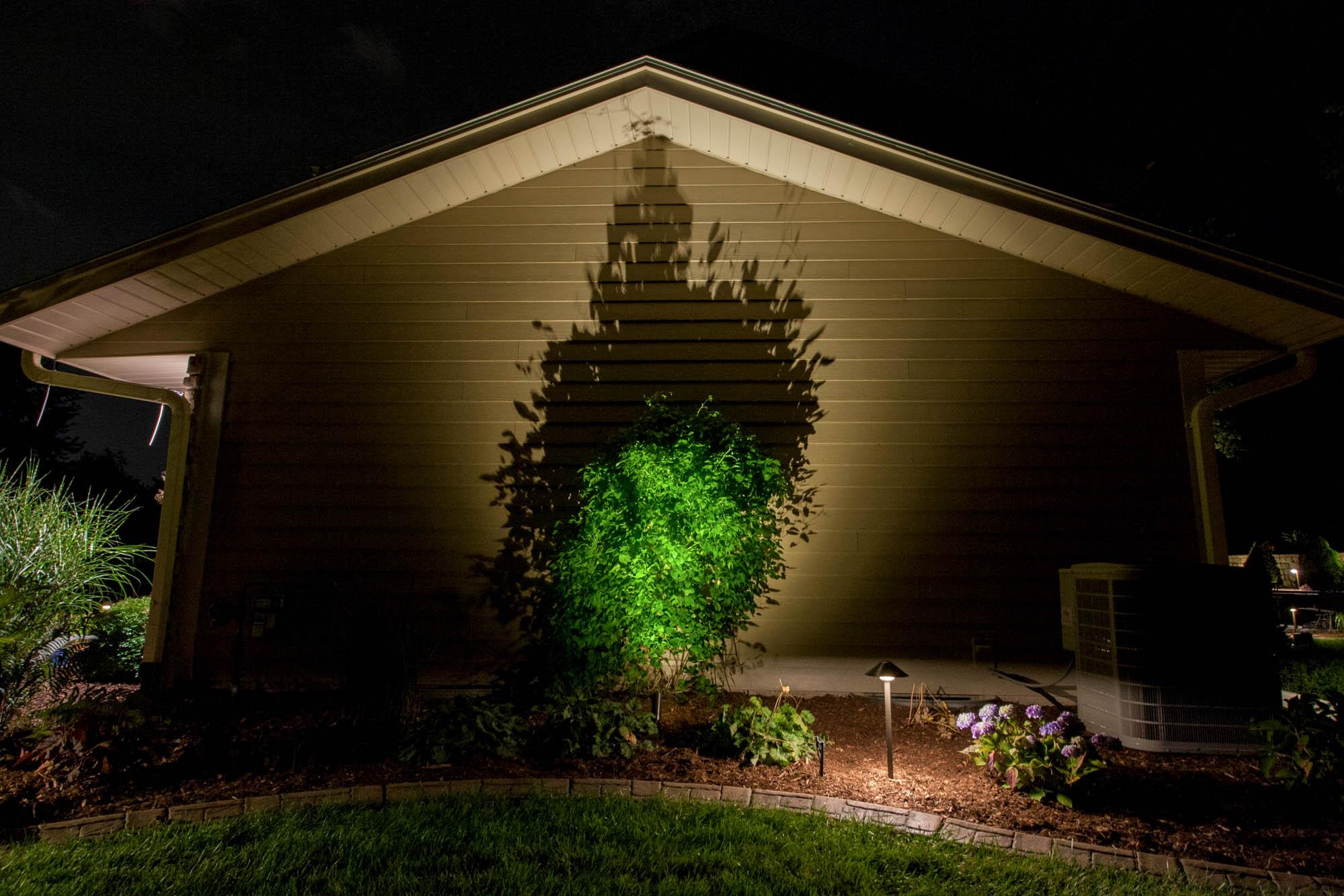 pewaukee landscape outdoor lighting night owl specimen trees shadow art