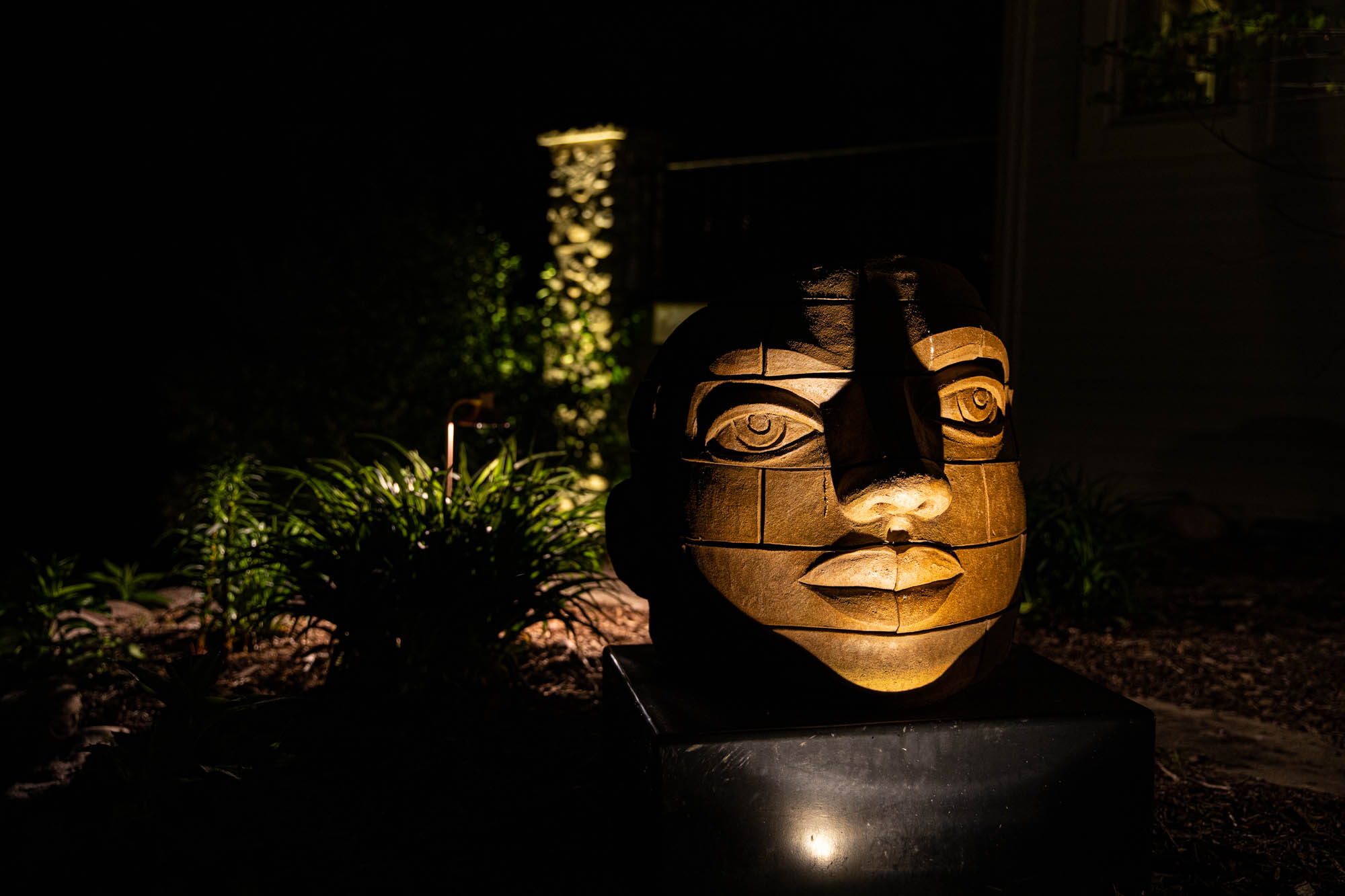 delafield landscape outdoor lighting night owl asian statue statuary