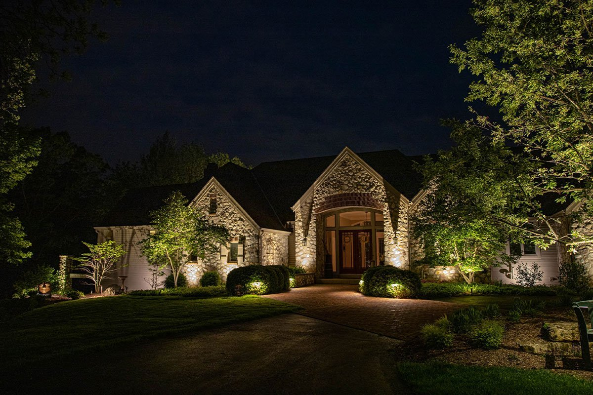 delafield landscape outdoor lighting night owl home residential uplighting landscape design brick walkway ftimg