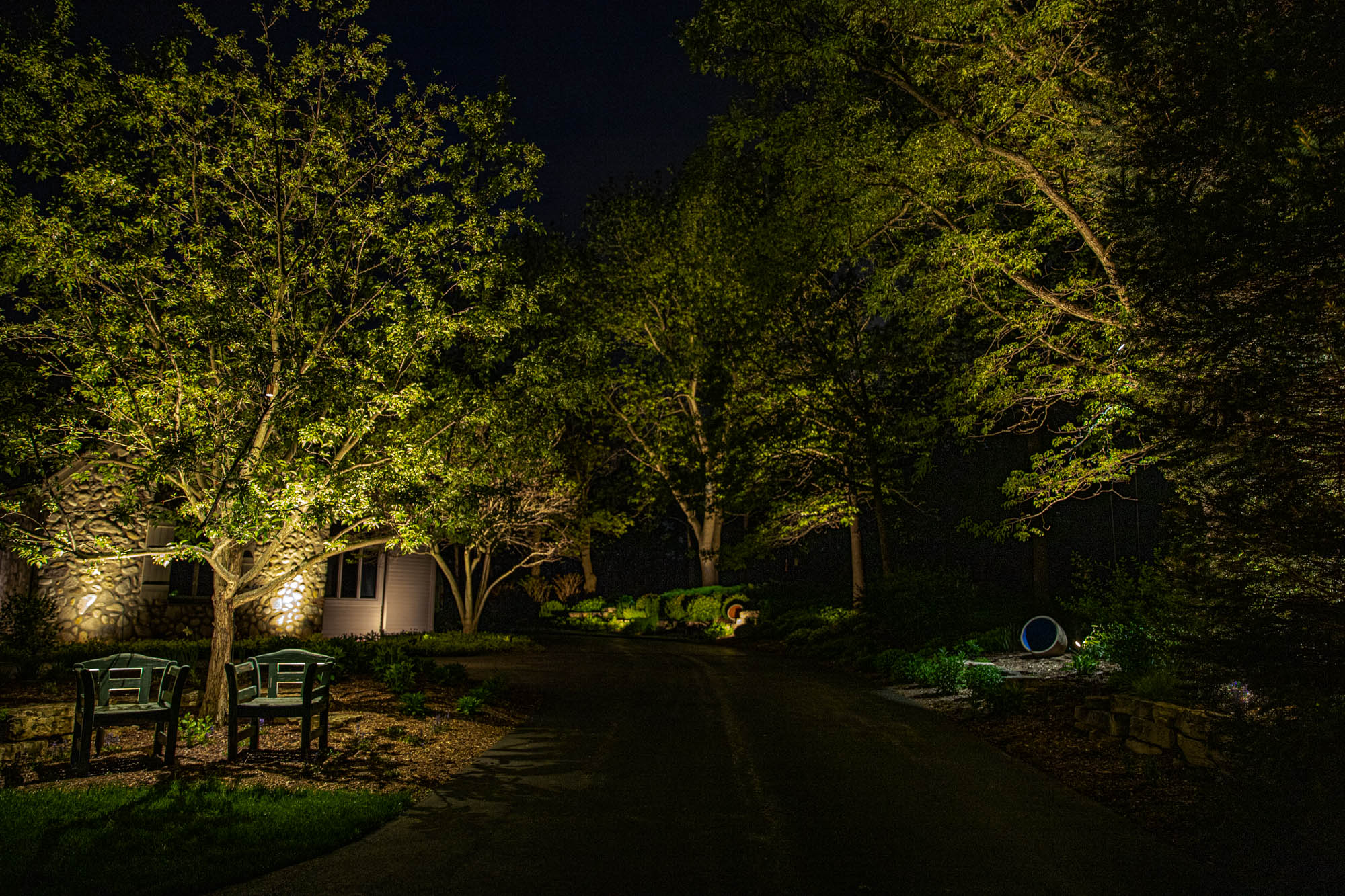 delafield landscape outdoor lighting night owl walkway tree lighting stone uplights bench seat lights