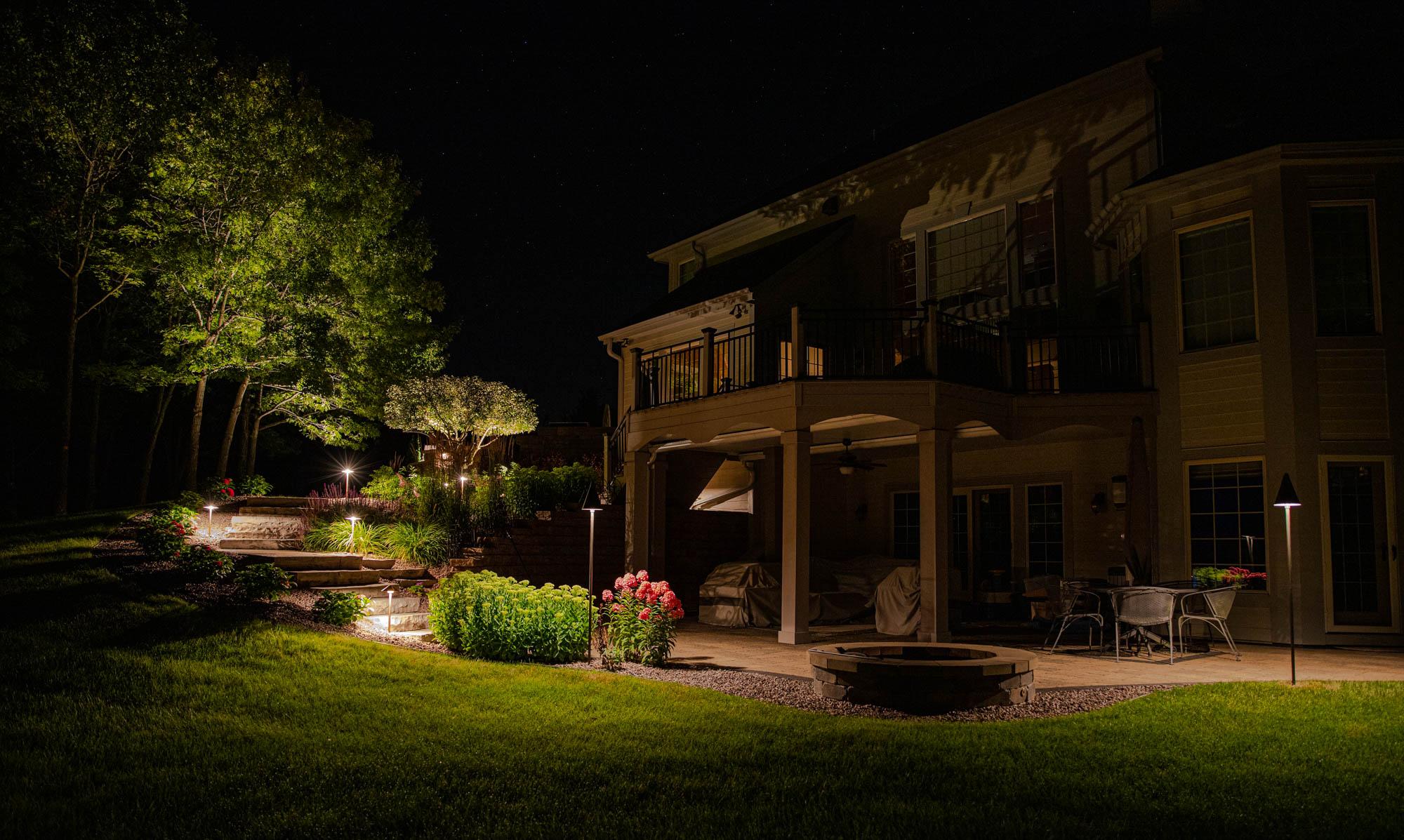mukwonago landscape outdoor lighting night owl desk fire pit tree uplighting path lights