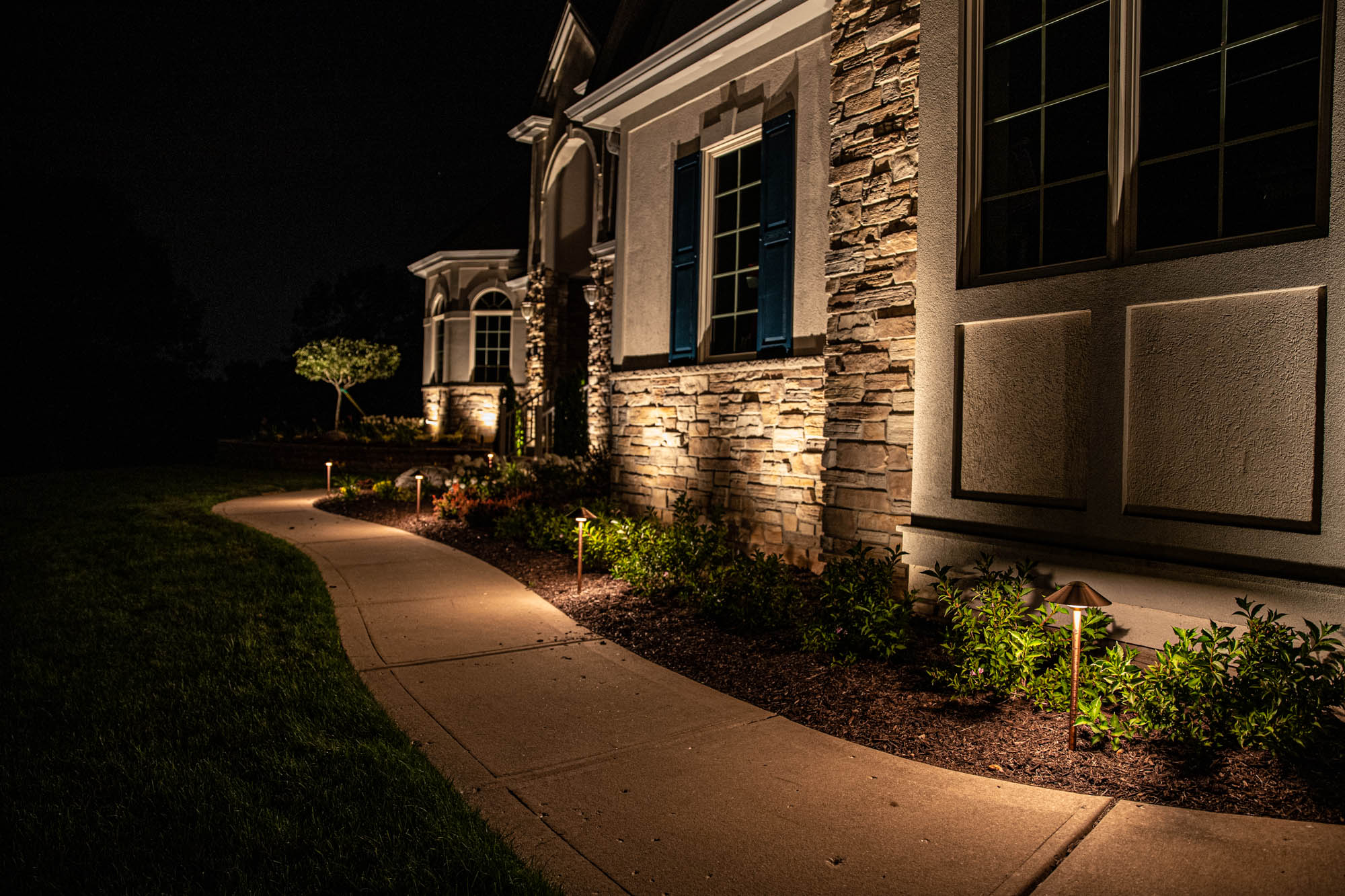 mukwonago landscape outdoor lighting night owl path lights and home entrance security lighting plants