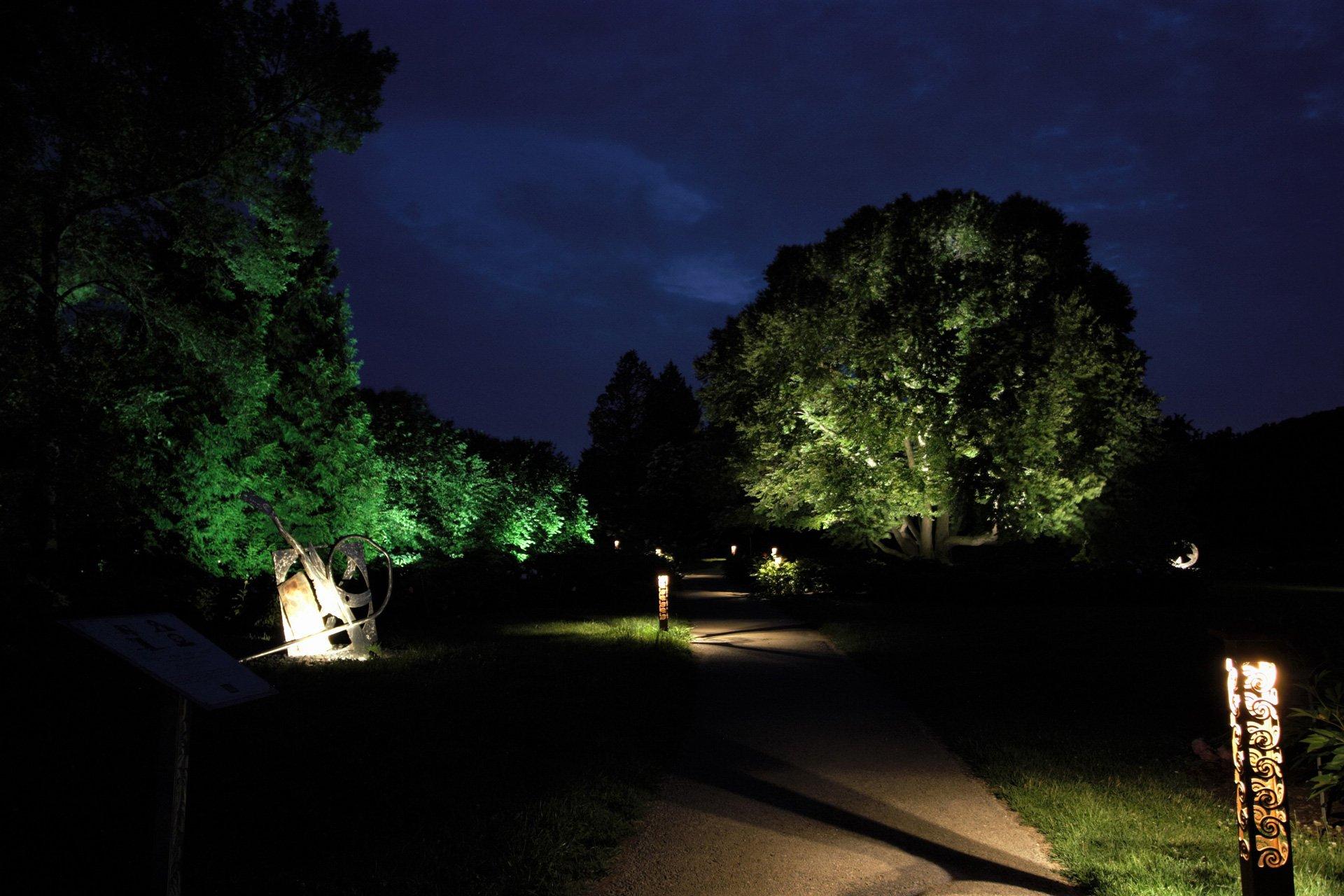night owl landscape lighting boerner botanical gardens sculpture lights custom fixture moonlight
