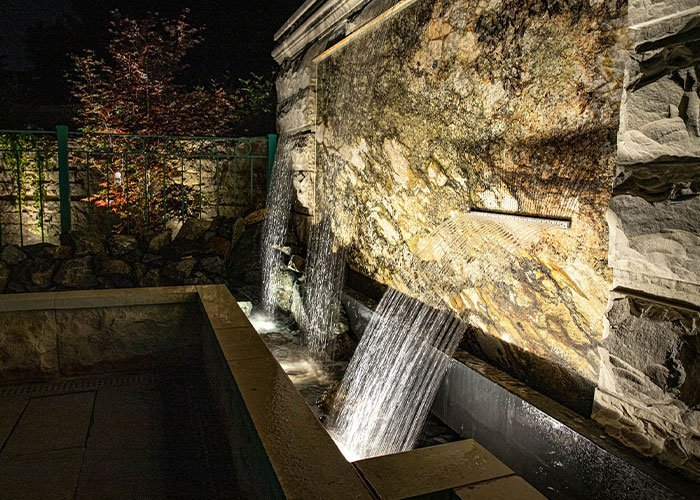 expert water feature waterfall low profile led lighting in wisconsin