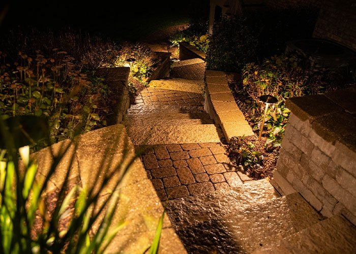 lighting hardscape brick and stone steps for safety and security